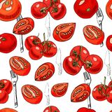 Seamless pattern of red hand drawn tomatoes and objects for kitchen. Ink and colored sketch on white background. Whole and sliced elements. Vector illustration royalty free illustration