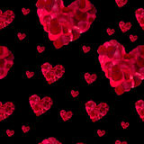 Seamless pattern red heart rose petals Stock Photos