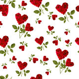 Seamless pattern red heart rose petals Stock Image