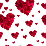 Seamless pattern red heart rose petals Stock Images