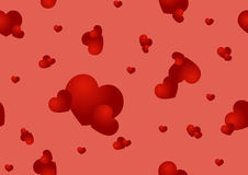 Seamless pattern with red hearts Stock Photo