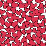 Seamless pattern of red hearts. Royalty Free Stock Images