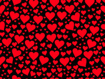Seamless pattern with red hearts on a black background. Valentine`s Day. Vector Stock Image