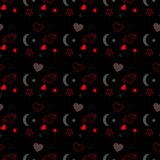 Seamless pattern with red hearts and black stars on black background. Vector illustration eps. Seamless pattern with red hearts and black stars on black Royalty Free Stock Images