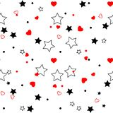 Seamless pattern with red hearts and black stars on white background. Vector illustration stock illustration