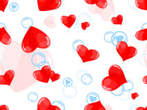 Seamless pattern with red hearts and blue bubbles Royalty Free Stock Photography