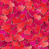Seamless pattern with Red hearts confetti. Valenti Royalty Free Stock Images