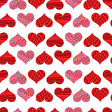 Seamless pattern with red hearts. Different red hearts on a white background. Stock Photography