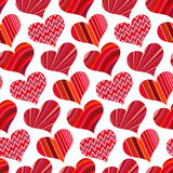 Seamless pattern with red hearts. Different red hearts on a white background Stock Image