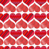 Seamless pattern with red hearts. Different red hearts on a white background. Royalty Free Stock Images