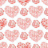 Seamless pattern with red hearts and roses Stock Images