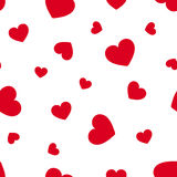 Seamless pattern with red hearts. Vector illustration. Stock Photo