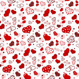 Seamless Pattern with red hearts. On white background Royalty Free Stock Images