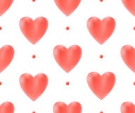 Seamless pattern with red hearts on a white background for Valentine's Day. Vector Illustration. Stock Photos