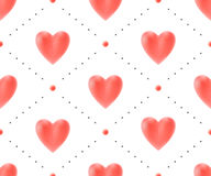 Seamless pattern with red hearts on a white background for Valentine's Day. Vector Illustration. Royalty Free Stock Image