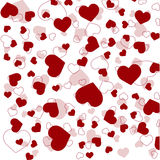 Seamless pattern with red hearts on white background. Vector.  Royalty Free Stock Photos