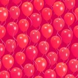 Seamless pattern with red helium balloons Happy Valentine`s day. For textile, wallpaper, wrapping, web backgrounds and other pattern fills Royalty Free Stock Photos