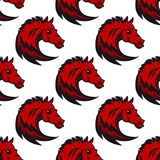 Seamless pattern with red horse Royalty Free Stock Photos