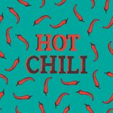 Seamless pattern with red hot chili pepper. Spices on the blue background with red words. Vector illustration for textile, fabric,. Restaurant, shop, t-shirt Royalty Free Stock Photography