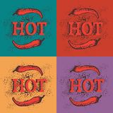 Seamless pattern with red hot chili pepper. Spices on the colorful background with red word. `hot`. Vector illustration for textile, fabric, restaurant, shop, t Stock Photos