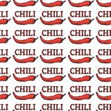 Seamless pattern with red hot chili pepper. Spices isolated on white background with brown words. Vector illustration for textile,. Fabric, restaurant, shop, t Stock Image