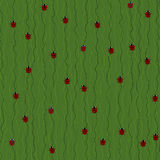 Seamless Pattern with Red Ladybugs and Ladybirds on a Dark Green Background. Stock Photos