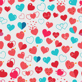 Seamless pattern of red and light blue hearts. Flat design Stock Photography