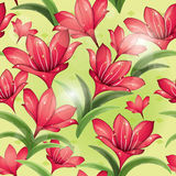 Seamless pattern - Red lilies Stock Photography