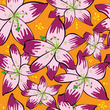 seamless pattern red lily on orange Royalty Free Stock Image