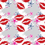Seamless pattern  red lips with stars Royalty Free Stock Photos