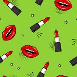 Seamless pattern with red lipstick and lips, stars. Pop art style. Vector illustration. Seamless pattern with red lipstick and lips, stars on green background stock illustration
