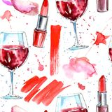 Seamless pattern of a red lipstick, wine and splashes. Fashion,cosmetics and beauty image.Watercolor hand drawn illustration.White background Royalty Free Stock Images
