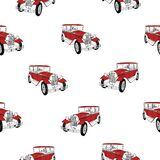 Seamless pattern with red luxury retro car on white background. Vintage backdrop with elegant automobiles. Vector. Illustration for wallpaper, textile print Stock Images