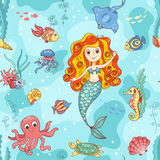 Seamless pattern with red mermaid Royalty Free Stock Image