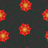 Seamless pattern with red and orange abstract flower on the grey. Background. Can be used for printing on fabric, for wrapping paper and for the background of Stock Image