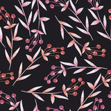 Seamless pattern with the red and orange berries, hand drawn in a watercolor on a dark background Stock Photos