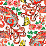 Seamless pattern red orange shades with paisley, yellow butterflies Royalty Free Stock Photo