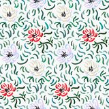 Abstract anemone pattern. Seamless pattern of red, pale violet and beige anemone flowers in post-impressionism style royalty free illustration