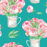 A seamless pattern with the red peonies flowers in a rustic jar Royalty Free Stock Photo