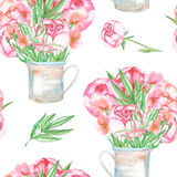 A seamless pattern with the red peonies flowers in a rustic jar Royalty Free Stock Image