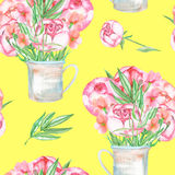 A seamless pattern with the red peonies flowers in a rustic jar Royalty Free Stock Photos