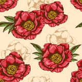 Seamless pattern with red peony Royalty Free Stock Photo