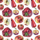 Seamless pattern with red peppers, apples, tomatoes and plums drawn by hand with colored pencil. Healthy vegan food. Fresh tasty fruits and vegetables painted Stock Image