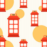 Seamless pattern with red phone booth. Hipster style seamless pattern with red phone booth. Flat illustration Stock Images