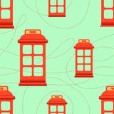 Seamless pattern with red phone booth. Hipster style seamless pattern with red phone booth. Flat illustration Stock Photos