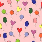 Pattern with various colorful balloons stock illustration