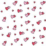 Seamless pattern with red-pink hearts. vector illustration