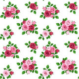 Seamless pattern with red and pink roses on white. Royalty Free Stock Photo