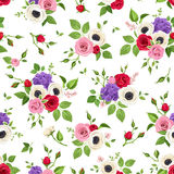 Seamless pattern with red, pink white and purple flowers. Vector illustration. Stock Photos