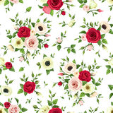 Seamless pattern with red, pink and white roses, lisianthuses and anemone flowers. Vector illustration. Stock Photo